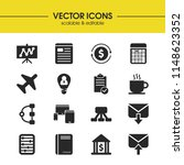 trade icons set with blank ...