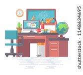 work office with modern gadgets ... | Shutterstock .eps vector #1148634695