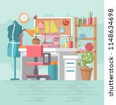 workplace seamstresses in... | Shutterstock .eps vector #1148634698
