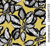 pattern with leaves  ocher color | Shutterstock . vector #1148649725