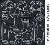 set of  summer symbols  shells  ... | Shutterstock .eps vector #1148653868