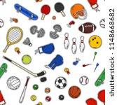 seamless pattern set of sports... | Shutterstock .eps vector #1148668682