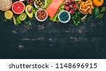 a set of healthy food. fish ... | Shutterstock . vector #1148696915