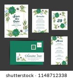 wedding floral invitation  save ... | Shutterstock .eps vector #1148712338