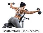 muscular woman doing exercise... | Shutterstock . vector #1148724398
