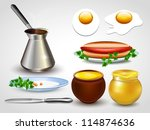 set of kitchen utensils. vector ... | Shutterstock .eps vector #114874636