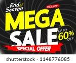 mega sale  poster design... | Shutterstock .eps vector #1148776085