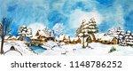 Snowy Winter Village Landscape...