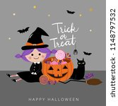 trick or treat with cute witch... | Shutterstock .eps vector #1148797532