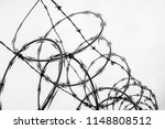 close up of barbed wire fence... | Shutterstock . vector #1148808512