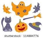 halloween patchwork set for... | Shutterstock .eps vector #114884776