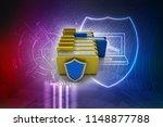 laptop folder with shield.... | Shutterstock . vector #1148877788