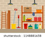 house cellar background. flat...   Shutterstock .eps vector #1148881658