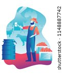 vector illustration worker set... | Shutterstock .eps vector #1148887742