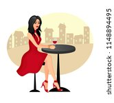 beautiful girl sitting at a... | Shutterstock .eps vector #1148894495