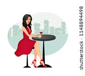 beautiful girl sitting at a... | Shutterstock .eps vector #1148894498