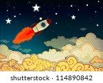cartoon rocket flying to the...