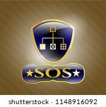 gold badge with flowchart icon ... | Shutterstock .eps vector #1148916092