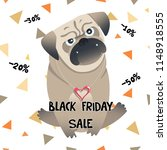 little pug sale card. cute pet. ... | Shutterstock .eps vector #1148918555