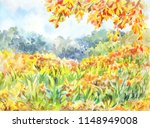simple autumn landscape with a... | Shutterstock . vector #1148949008