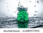 a jar of gel beads with water...   Shutterstock . vector #1148957492