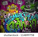 graffiti wall urban art... | Shutterstock .eps vector #114899758