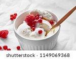 vanilla ice cream decorated...   Shutterstock . vector #1149069368