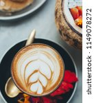 hot coffee latte served for... | Shutterstock . vector #1149078272