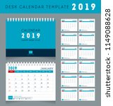 desk calendar template for 2019 ... | Shutterstock .eps vector #1149088628