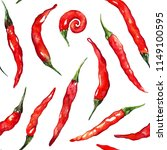 watercolor red hot chili chilli ... | Shutterstock . vector #1149100595