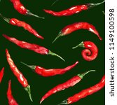 watercolor red hot chili chilli ... | Shutterstock . vector #1149100598