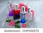 several colored perfume bottles ... | Shutterstock . vector #1149102572