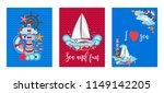 marine cards sea nautical set ... | Shutterstock .eps vector #1149142205