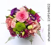 colorful bouquet with pink... | Shutterstock . vector #1149146822