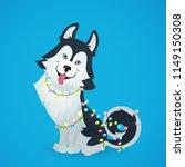 husky dog sitting on blue... | Shutterstock .eps vector #1149150308