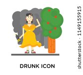 drunk icon vector isolated on... | Shutterstock .eps vector #1149155915