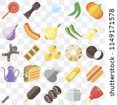 set of 25 icons such as ham ...