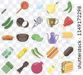 set of 25 icons such as taco ...