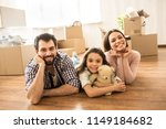 family portrait of three people ... | Shutterstock . vector #1149184682