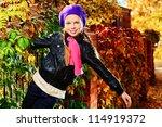 portrait of a cute little girl...   Shutterstock . vector #114919372