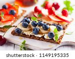 healthy sandwiches with berry ... | Shutterstock . vector #1149195335