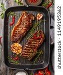 grilled  striploin steak with... | Shutterstock . vector #1149195362