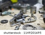 motorcycle parts and tools on... | Shutterstock . vector #1149201695