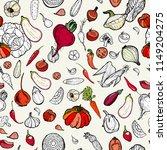 vegetables seamless hand drawn... | Shutterstock .eps vector #1149204275