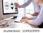 designer team sketching a logo... | Shutterstock . vector #1149225905