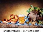 beer mug with pretzel and...   Shutterstock . vector #1149251585