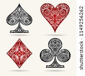 ornamental playing card suits...   Shutterstock .eps vector #1149256262