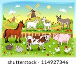 farm animals with background.... | Shutterstock .eps vector #114927346