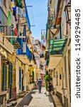 narrow alley of colorful houses ... | Shutterstock . vector #1149294485