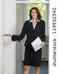businesswoman asks to come in... | Shutterstock . vector #114932542